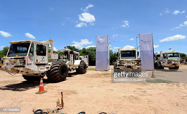 View of seismic vibrator trucks during the launching ceremony of the oil exploitation programme in Chaco carried out by US President Energy company...