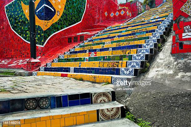 View of Selaron's Stairs a colorful mosaic tile stairway on February 12 2012 in Rio de Janeiro Brazil World famous staircase mostly covered by...