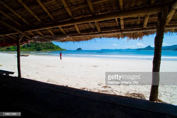 View of Selong Belanak Beach from the One Beach Hut, South Lombok, Indonesia, Asia.