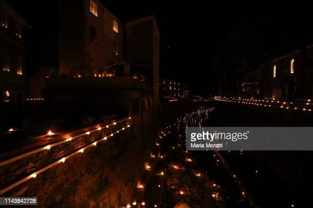 A view of Seravezza lit with candles during the Good Friday procession of the town on April 19 2019 in Seravezza Italy Every three years Seravezza...
