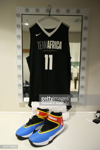 A view of Serge Ibaka of Team Africa dressing room during the NBA Africa Game 2018 as part of the Basketball Without Boarders Africa program on...