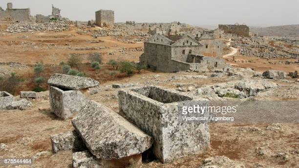 a view of serjilla, ancient byzantine village, the dead cities, syria - byzantine stock pictures, royalty-free photos & images