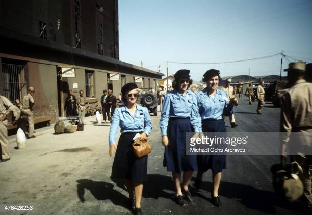 View of service women at a US Base in Algiers, Algeria.