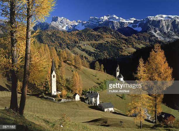 View of Sesto in the Dolomite mountains, Italy, circa 1980.
