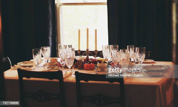 View Of Set Dining Table At Home