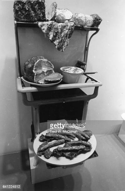 View of several of Claes Oldenburg's soft sculpture during a retrospective at the Museum of Modern Art New York New York September 23 1969