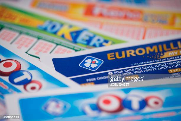 View of severals Loto Euromillions Joker Keno grids by Francaise des Jeux the operator of France's national lottery games taken on March 27 2018 in...