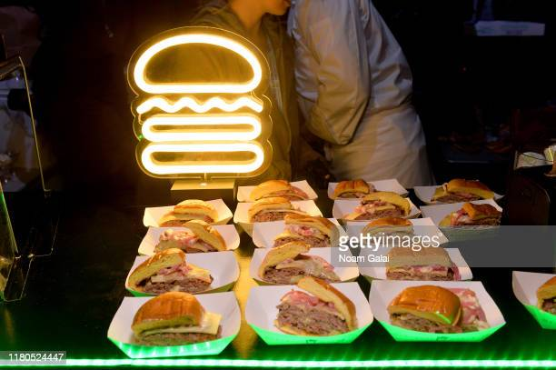 View of Shake Shack burgers on display during the Blue Moon Burger Bash presented by Pat LaFrieda Meats hosted by Rachael Ray at Pier 97 on October...