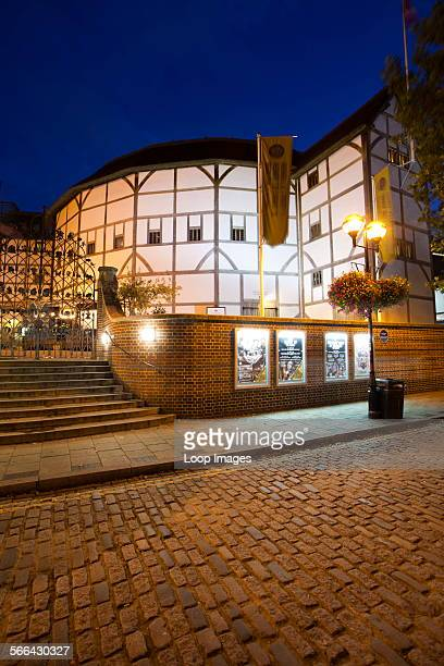 A view of Shakespeare's Globe Theatre on the banks of the river Thames