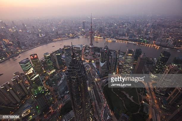 View of Shanghai and the Huang Pu river from the 100th floor observation room inside the Shanghai World Financial Center in Pudong Shanghai Designed...