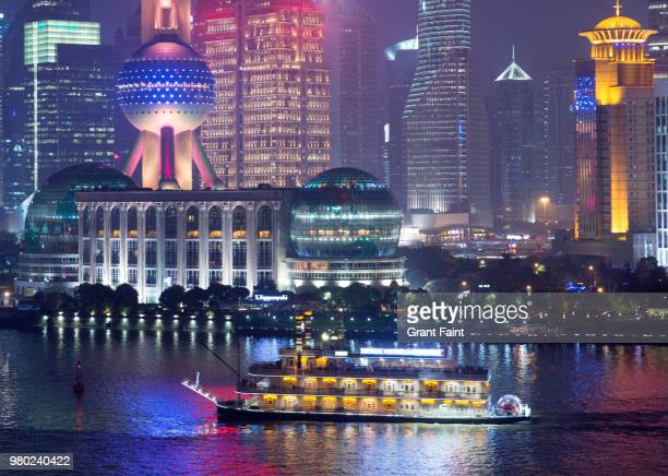 view of shanghai city and river way at night. - huangpu river stock pictures, royalty-free photos & images