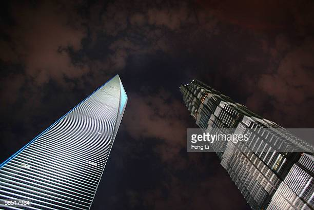 A view of Shanghai Jinmao Tower and Shanghai World Financial Center in Pudong Lujiazui Financial District on April 17 2010 in Shanghai China The...