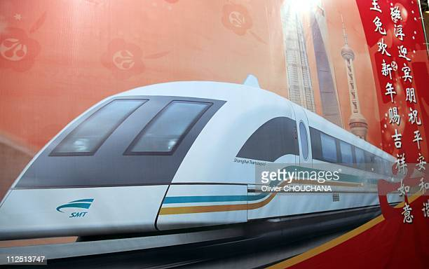 A view of Shanghai Maglev Train signage on April 18 2011 in Shanghai China The Maglev is a magnetic levitation train that connects Pudong...