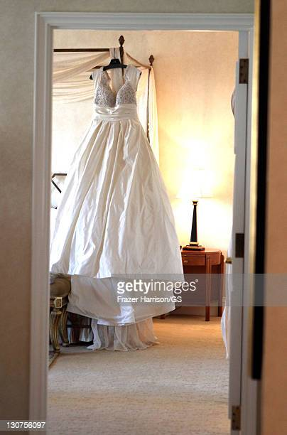 A view of Shannon Tweed's wedding dress at the wedding of Gene Simmons and Shannon Tweed at the Beverly Hills Hotel on October 1 2011 in Los Angeles...