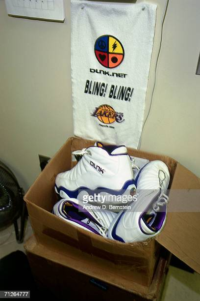 View of Shaquille O'Neal's sneakers used against the Indiana Pacers in Game One of the 2000 NBA Finals played June 7 2000 at the Staples Center in...