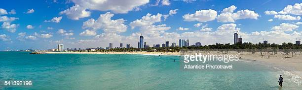 view of sharjah from al mamzar beach park - image stock pictures, royalty-free photos & images