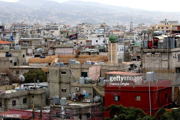 A view of Shatila Palestinian and Syrian Refugee Camp on February 2 2019 in Beirut Lebanon The Shatila refugee camp is a refugee camp originally...