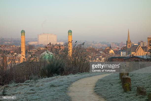 View of Sheffield City Centre on a frosty winter's morning. In the image are the Hallamshire NHS Hospital, the areas of Sharrow and Highfield,...