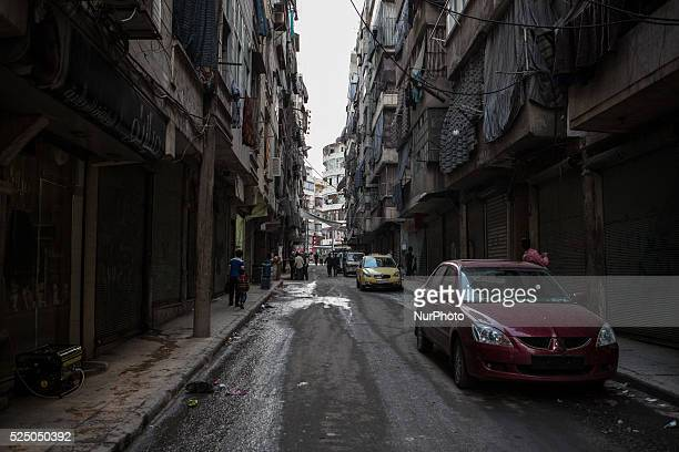 A view of shelled neighborhood in Aleppo Syria