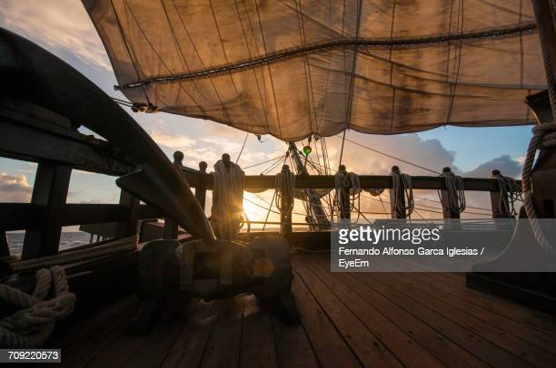 View Of Ship Deck At Sunset