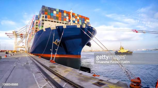 view of ship in sea against sky - moored stock pictures, royalty-free photos & images