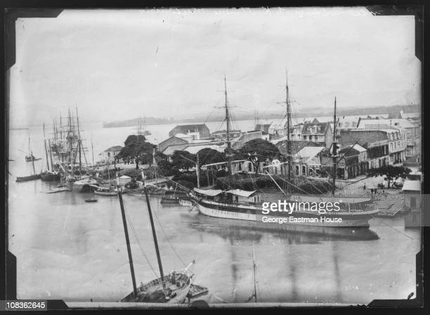 View of ships docked in SaintPierre Martinique early 20th century