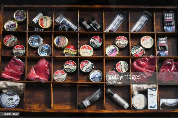 A view of Shoe Care Products on display in a shop window in Rathmines On Friday May 4 in Dublin Ireland