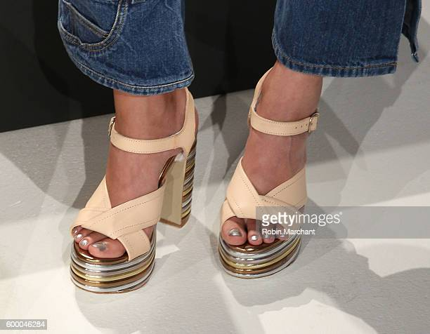 A view of shoes at Michelle Helene presentation September 2016 during New York Fashion Week at Pier 59 Studios on September 7 2016 in New York City