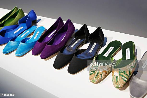 A view of shoes at the Manolo Blahnik presentation during MercedesBenz Fashion Week Fall 2014 at Paul Kasmin Gallery on February 9 2014 in New York...
