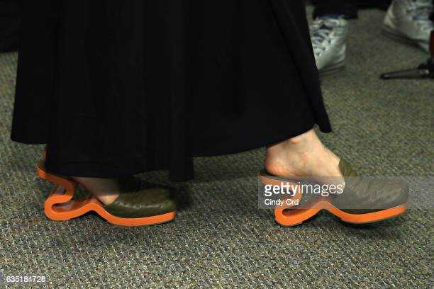 A view of shoes backstage at the Eckhaus Latta fashion show during New York Fashion Week on February 13 2017 in New York City