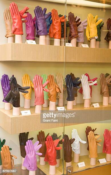 view of shop window display of gloves - leather glove stock pictures, royalty-free photos & images