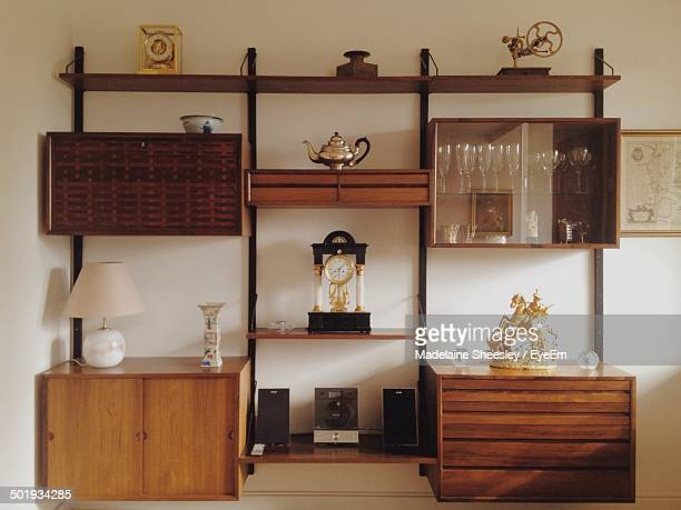 View of showcase cabinet at home