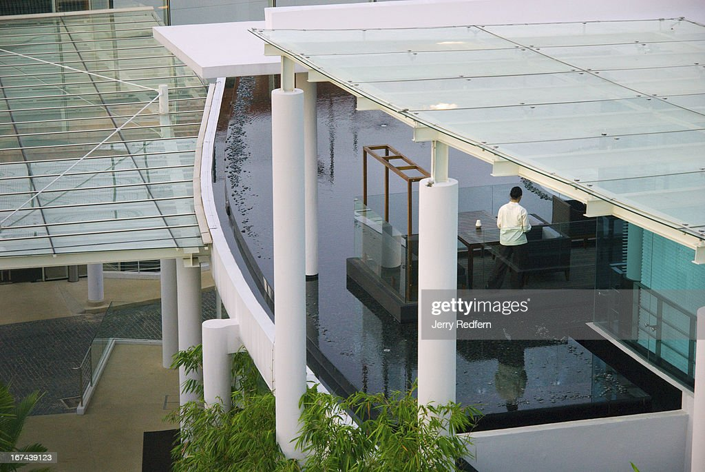A view of Shutters Restaurant at the Amara Sanctuary Resort on Sentosa Island. The hotel is built around a set of British Army barracks while the modern parts of the hotel were designed by Japanese architect Masaki Miyake..