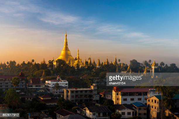 view of shwedagon pagoda in yangon, myanmar. - yangon stock pictures, royalty-free photos & images
