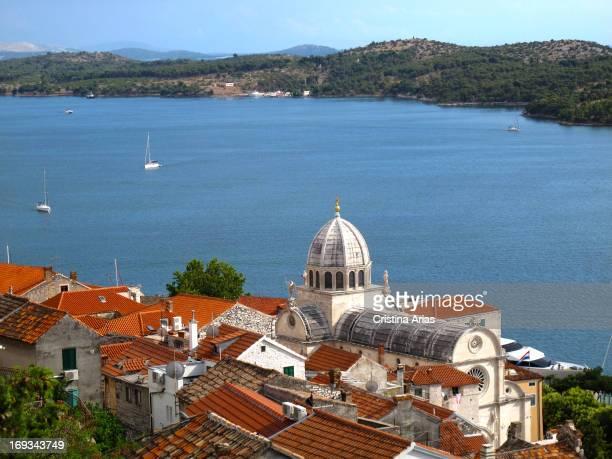 View of Sibenik from the fortress of San Miguel Dalmatia Croatia July 2011