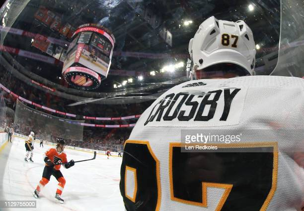 View of Sidney Crosby of the Pittsburgh Penguins as he hits the glass against the Philadelphia Flyers on February 11, 2019 at the Wells Fargo Center...