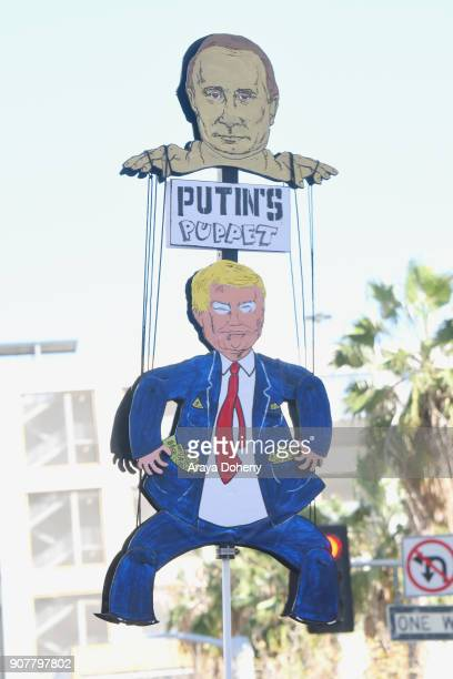 View of signage at 2018 Women's March Los Angeles at Pershing Square on January 20 2018 in Los Angeles California