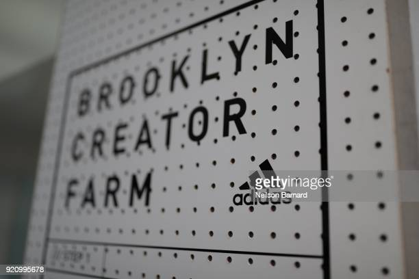 A view of signage at Maker Lab at adidas Creates 747 Warehouse St an event in basketball culture on February 17 2018 in Los Angeles California