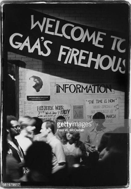 View of signage at the Gay Activist Alliance Firehouse an abandoned firestation which had been converted to a community center New York New York June...