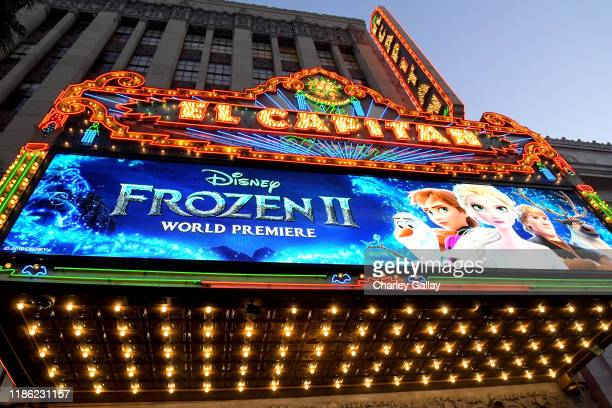 View of signage at the world premiere of Disney's Frozen 2 at Hollywood's Dolby Theatre on Thursday November 7 2019 in Hollywood California