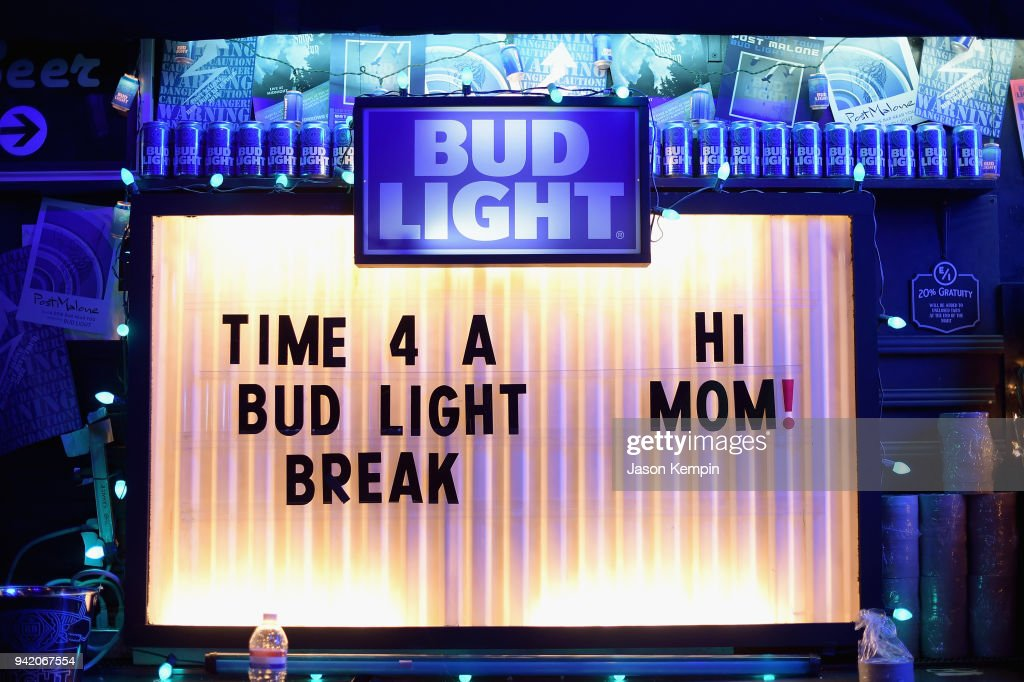 A view of signage during Bud Light's Dive Bar Tour with Post Malone