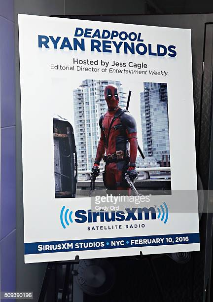 A view of signage during SiriusXM's Entertainment Weekly Radio Special with Ryan Reynolds hosted by Jess Cagle at SiriusXM Studio on February 10 2016...