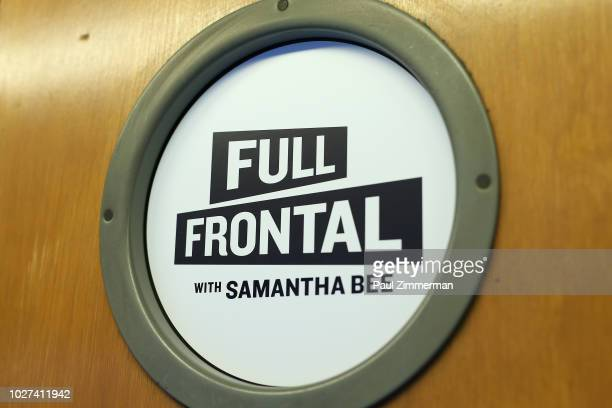 A view of signage during the Full Frontal With Samantha Bee Presents This Is Not A Game The Game press junket on September 5 2018 in New York City...