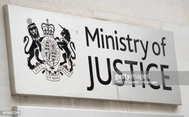 A view of signage for the Ministry of Justice in Westminster London