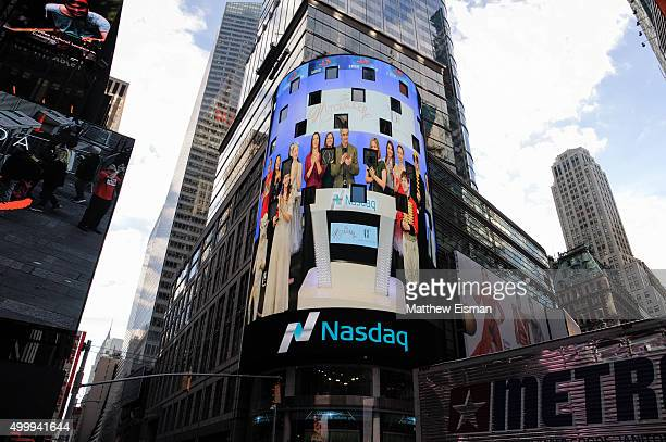 A view of signage in Times Square after members of the American Ballet Theatre's production of 'The Nutcracker' ring the Nasdaq Stock Market opening...