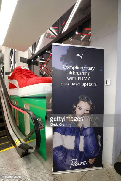 A view of signage inside the store during the Meet Greet with Selena Gomez at PUMA Flagship on January 14 2020 in New York City
