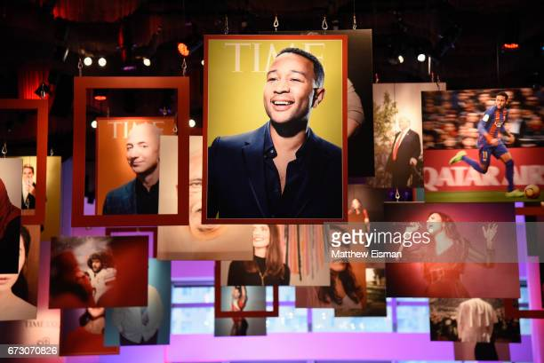 A view of signage on display during the 2017 Time 100 Gala at Frederick P Rose Hall Jazz at Lincoln Center on April 25 2017 in New York City