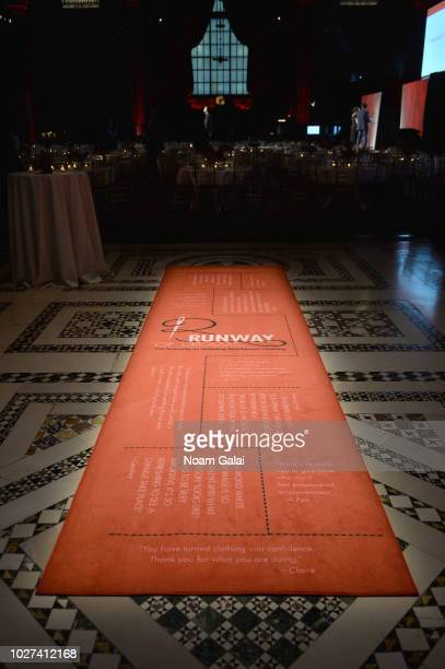 View of signage on display during the Runway Of Dreams Foundation Fashion Revolution Event at Cipriani 42nd Street on September 5, 2018 in New York...