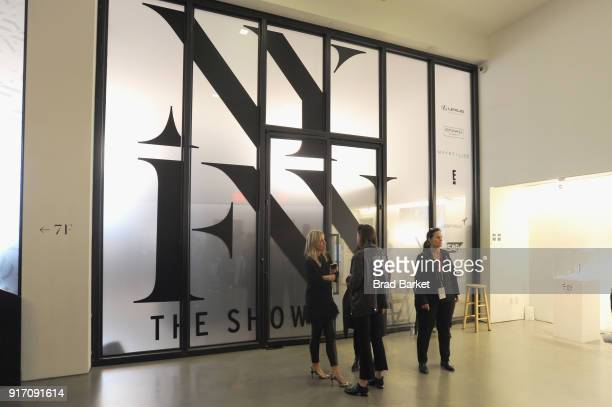 A view of signage on floor seven during IMG NYFW The Shows at Spring Studios on February 11 2018 in New York City