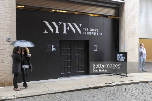 A view of signage outside of Spring Studios during IMG NYFW The Shows at Spring Studios on February 11 2018 in New York City